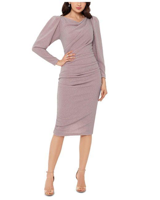 Betsy & Adam Pink Metallic Puff-sleeve Sheath Dress