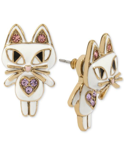 Betsey Johnson - Gold-tone White Enamel Cat Earring Jackets - Lyst