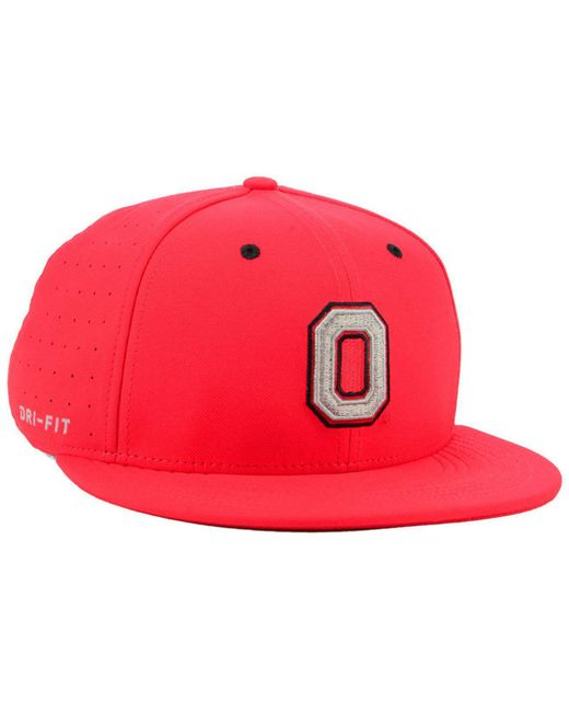 best sneakers b8e42 a41b4 ... promo code for nike red ohio state buckeyes aerobill true fitted  baseball cap for men lyst