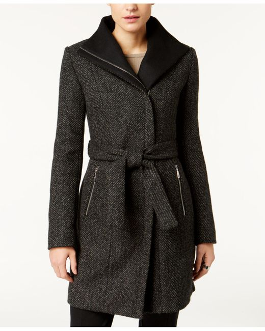T Tahari   Black Asymmetrical Tweed Coat   Lyst