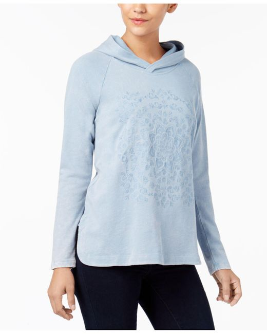 Style & Co. | Blue Cotton Embroidered Hoodie | Lyst