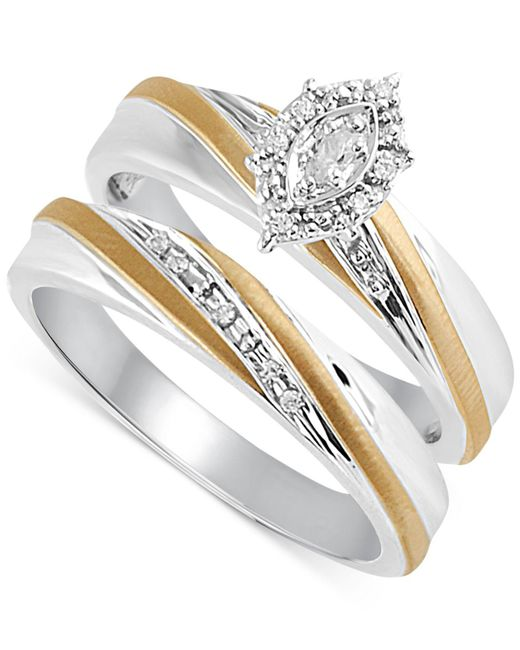 Beautiful Beginnings | Metallic Diamond Accent Bridal Set In 14k Gold And Sterling Silver | Lyst