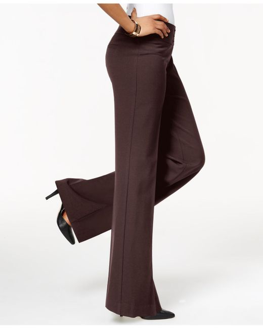 Style & Co. - Brown Stretch-jersey Wide-leg Pants  - Lyst