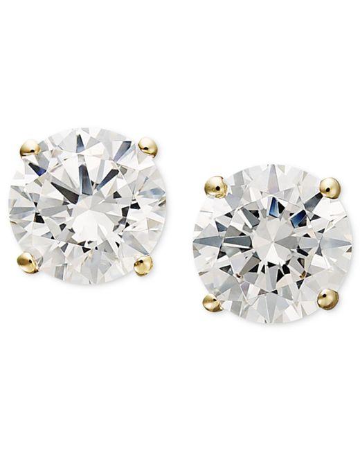 Arabella | Metallic 14k Gold Earrings, Swarovski Zirconia Round Stud Earrings (1-3/4 Ct. T.w.) | Lyst