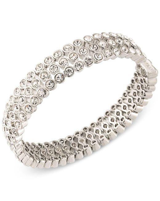 Carolee - Metallic Silver-tone Crystal Bangle Bracelet - Lyst