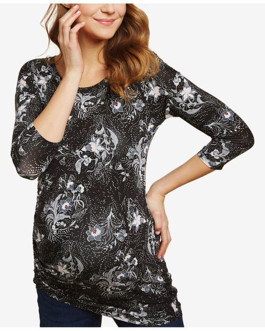 Jessica Simpson - Black Maternity Ruched T-shirt - Lyst