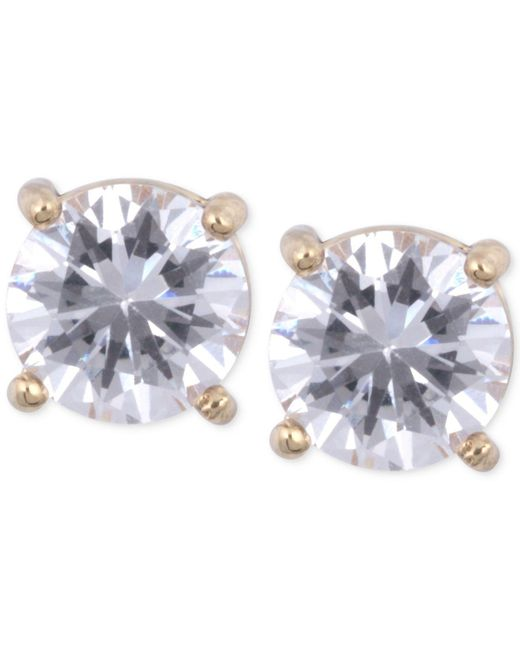 Anne Klein - Metallic Gold-tone Crystal Stud Earrings - Lyst