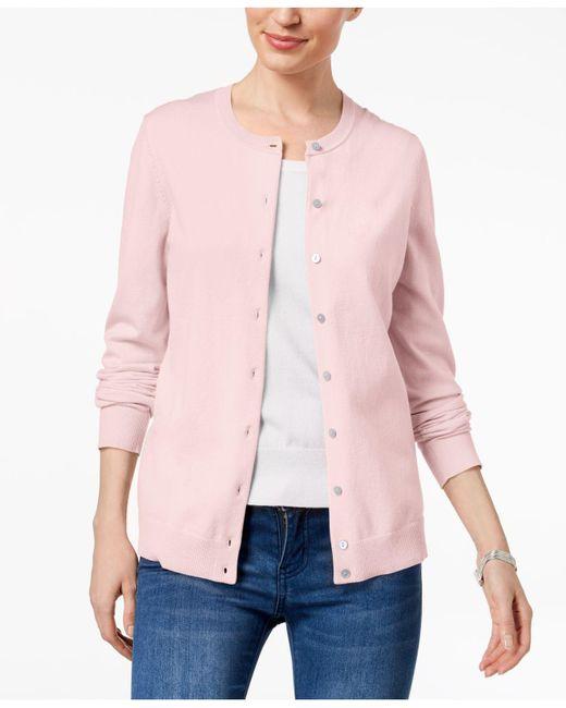 Karen Scott - Pink Crew-neck Cardigan, Created For Macy's - Lyst