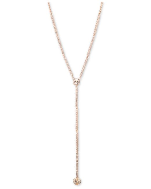 """Givenchy Pink Crystal Lariat Necklace, 16""""' + 3"""" Extender"""