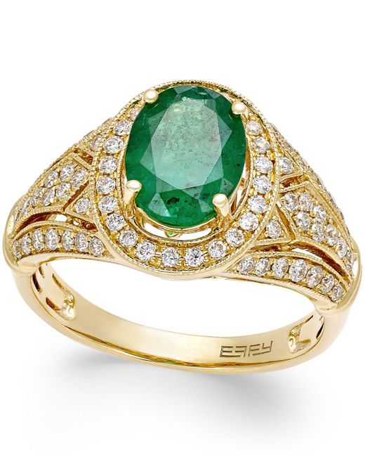 Effy Collection - Metallic Emerald (1-1/2 Ct. T.w.) And Diamond (1/2 Ct. T.w.) Ring In 14k Gold - Lyst