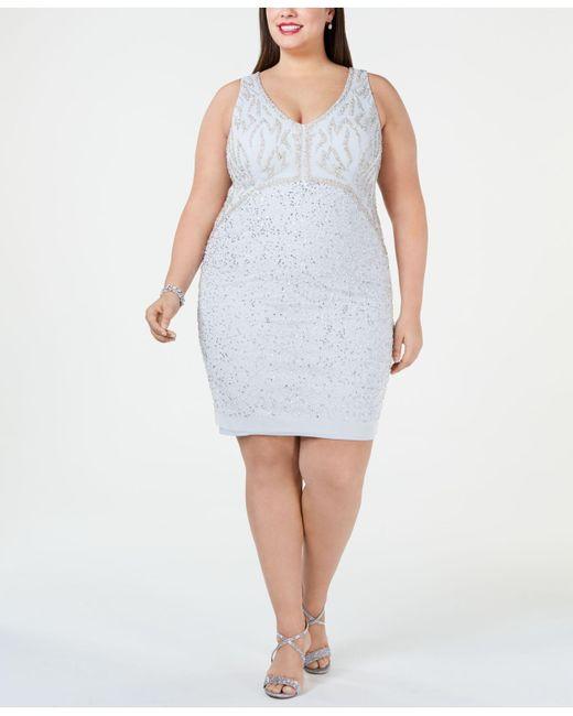 Women\'s Blue Plus Size Embellished Sheath Dress