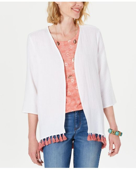 Style & Co. White Cotton Tassel-trim Kimono Top, Created For Macy's