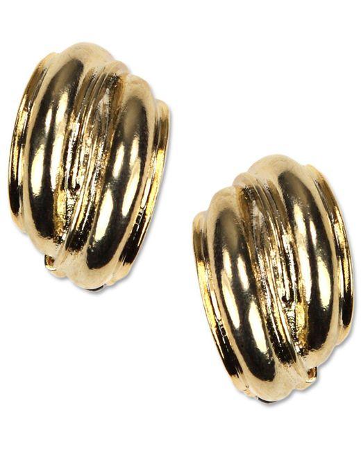 Anne Klein - Metallic Earrings, Gold-tone Button Clip On Earrings - Lyst