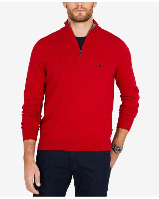 Nautica - Red Big & Tall Colorblocked Quarter-zip Pullover for Men - Lyst