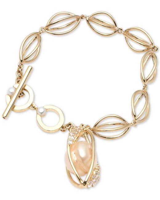 Carolee - Metallic Gold-tone Crystal & Imitation Pearl Flex Bracelet - Lyst