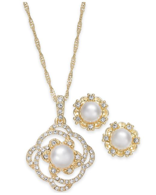 Charter Club - Metallic Gold-tone Pavé & Imitation Pearl Pendant Necklace And Stud Earrings Set - Lyst