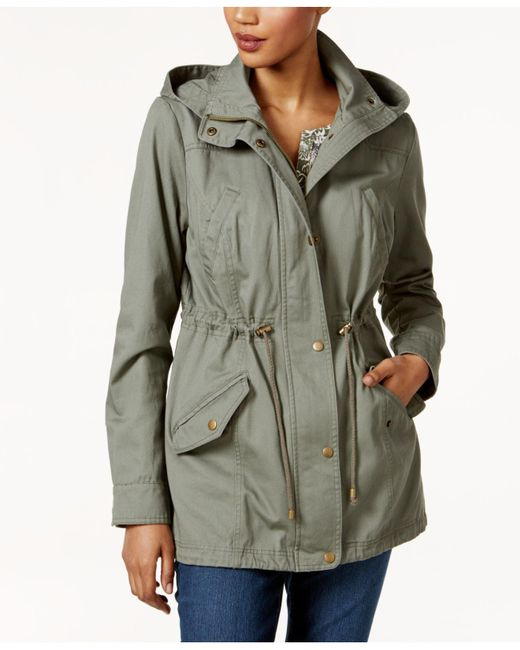 Style & Co. - Green Petite Cotton Hooded Utility Jacket - Lyst
