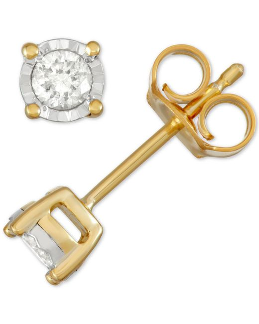 Macy's - Metallic Diamond Stud Earrings (1/5 Ct. T.w.) In Sterling Silver, 14k Gold Or Rose Gold Over Sterling Silver - Lyst