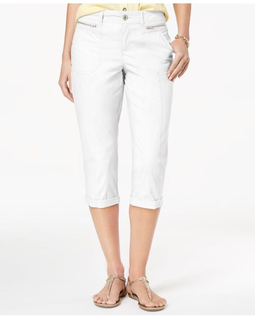 Style & Co. - White Zipper-pocket Capri Pants, Created For Macy's - Lyst