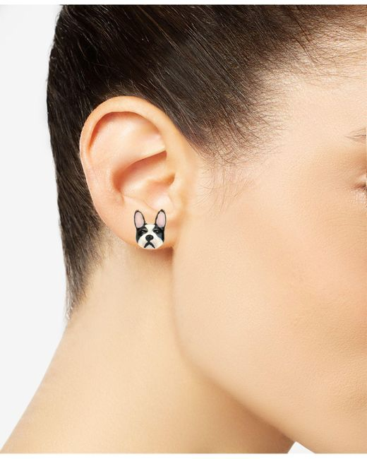 Betsey Johnson Metallic Gold-tone Pink Giraffe Earrings