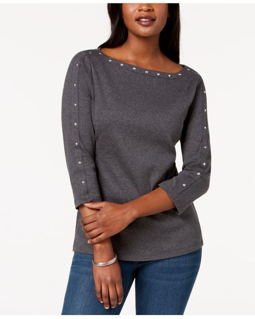 Karen Scott Gray Petite Studded Boat-neck Cotton Top, Created For Macy's