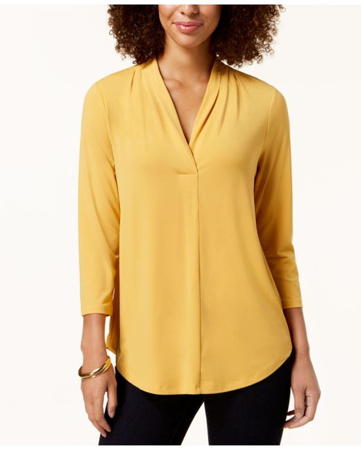 Charter Club Yellow Petite Pleat-neck 3/4-sleeve Top, Created For Macy's