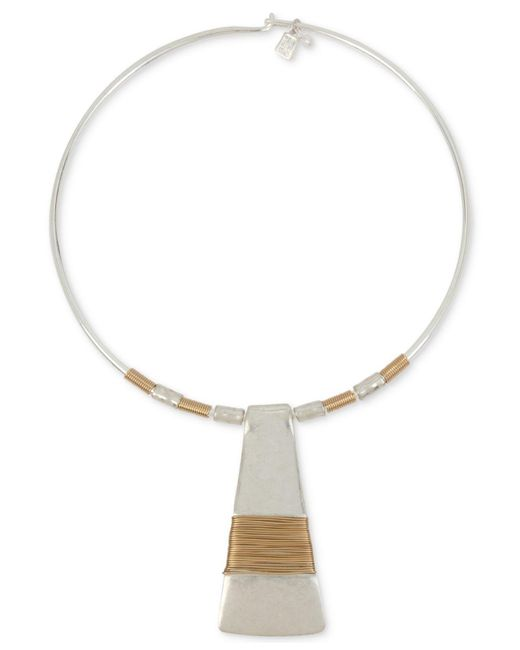 """Robert Lee Morris - Metallic Two-tone Wire-wrapped 16"""" Pendant Necklace - Lyst"""