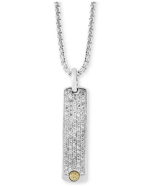 Effy Collection - Metallic Men's White Sapphire Dog Tag Pendant Necklace (2 Ct. T.w.) In Sterling Silver & 18k Gold - Lyst