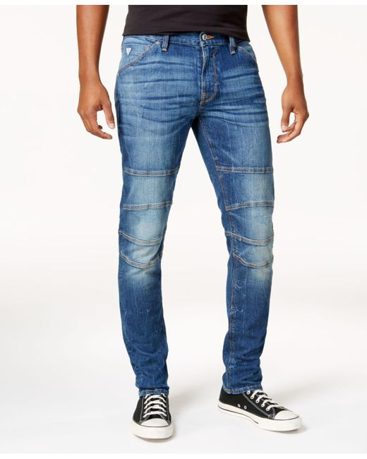 Guess - Blue Men's Slim-fit Tapered Stretch Destroyed Moto Jeans for Men - Lyst