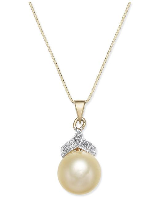 Macy's | Metallic Cultured Golden South Sea Pearl (9mm) And Diamond Accent Pendant Necklace In 14k Gold | Lyst