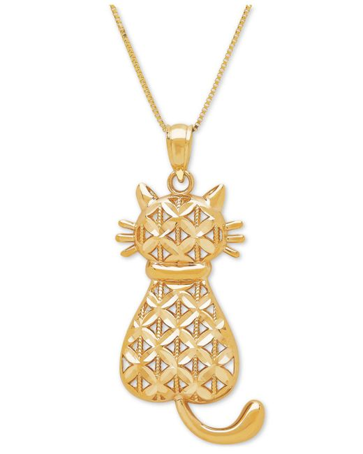 Macy's - Metallic Textured Backwards Kitty Cat Pendant Necklace In 14k Gold - Lyst