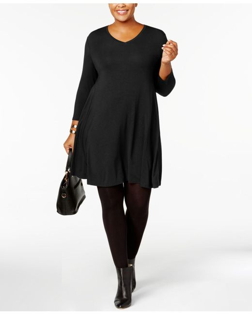 Style & Co. Black Plus Size V-neck A-line Swing Dress, Created For Macy's