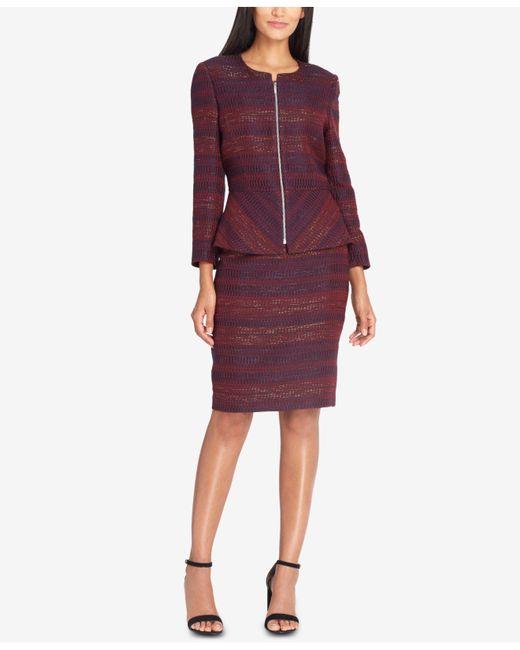 Tahari | Purple Textured Peplum Skirt Suit | Lyst