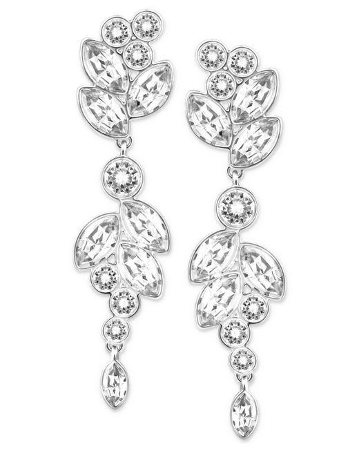 Swarovski | Metallic Silver-tone Multi-crystal Drop Earrings | Lyst