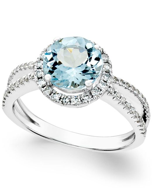 Macy's | Metallic Aquamarine (1-1/2 Ct. T.w.) And Diamond (1/3 Ct. T.w.) Split Shank Ring In 14k White Gold | Lyst