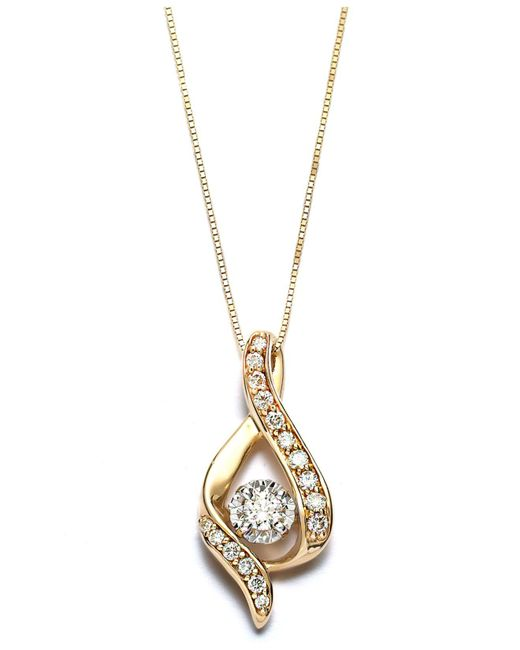 Macy's - Metallic Diamond Ribbon Pendant Necklace In 14k Gold (3/8 Ct. T.w.) - Lyst