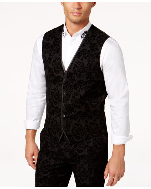 INC International Concepts - Black Men's Slim-fit Flocked Paisley Vest for Men - Lyst