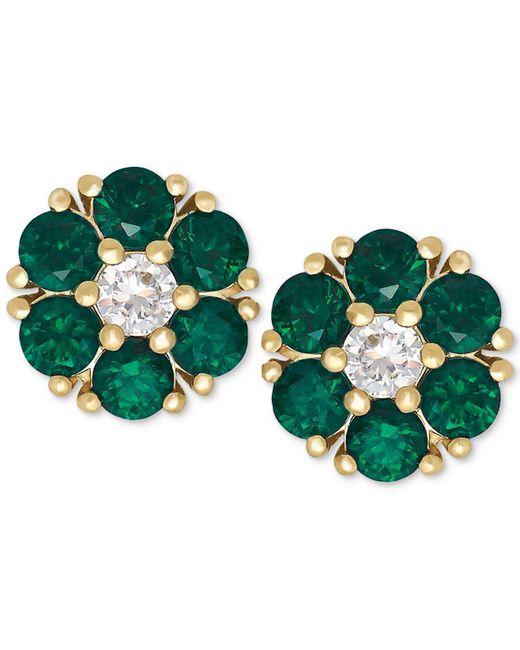 Macy's - Green Emerald (9/10 Ct. T.w.) And White Sapphire (1/6 Ct. T.w.) Flower Stud Earrings In 14k Gold - Lyst
