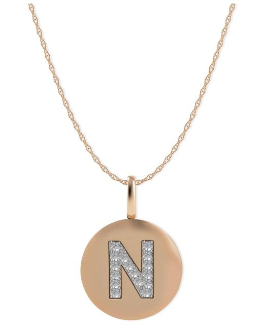 Macy's - Metallic 14k Rose Gold Necklace, Diamond Accent Letter N Disk Pendant - Lyst