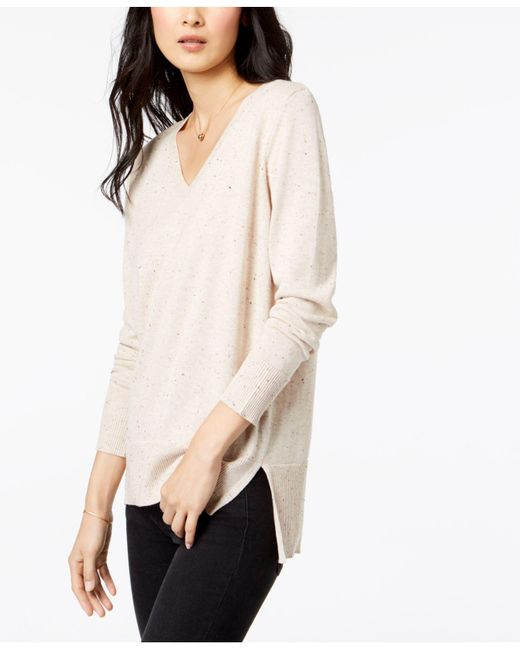 Maison Jules - Natural Cotton V-neck Tunic Sweater, Created For Macy's - Lyst