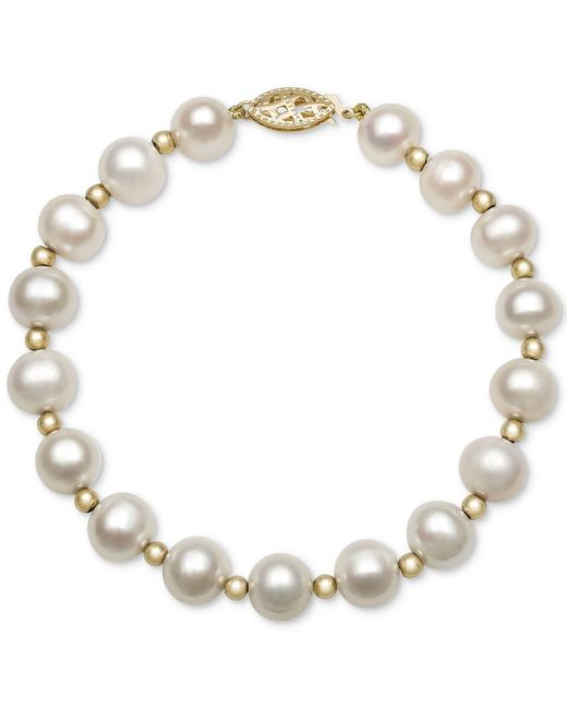 Macy's White Cultured Freshwater Pearl Bracelet In 14k Gold (7-1/2mm)