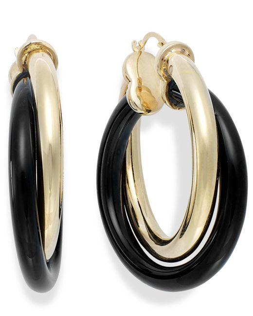 Signature Gold | Metallic Onyx Twist Hoop Earrings In 14k Gold (25-3/4 Ct. T.w.) | Lyst