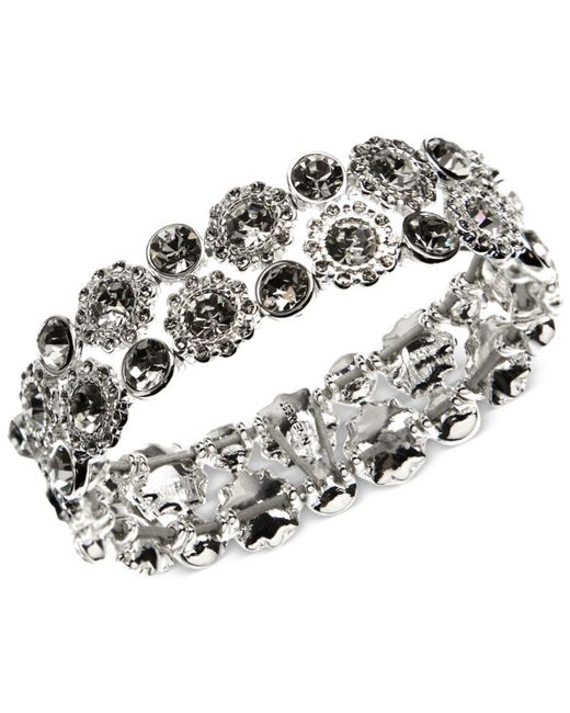 Nine West   Metallic Silver-tone Crystal Stretch Bracelet   Lyst