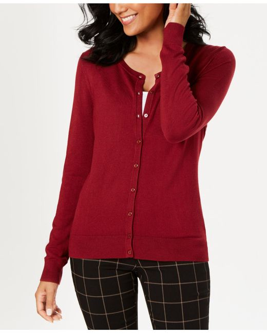 Charter Club Multicolor Long-sleeve Button-front Cardigan, Created For Macy's