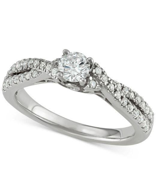 Macy's Metallic Diamond Twist Engagement Ring (5/8 Ct. T.w.) In 14k White Gold