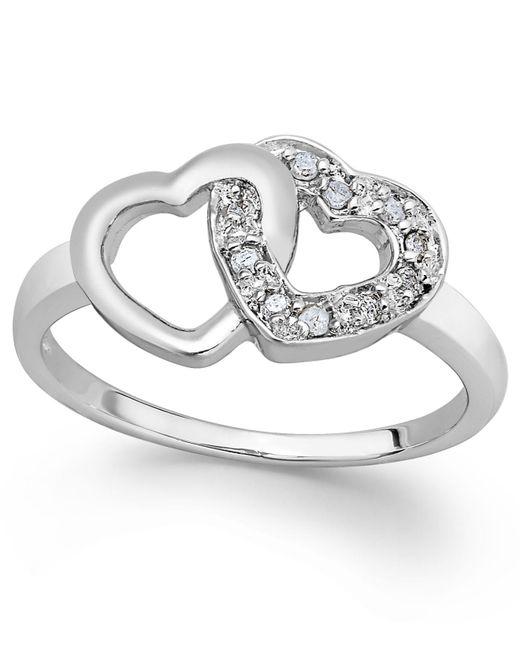 Macy's Metallic Diamond Double Heart Ring In Sterling Silver (1/10 Ct. T.w.)