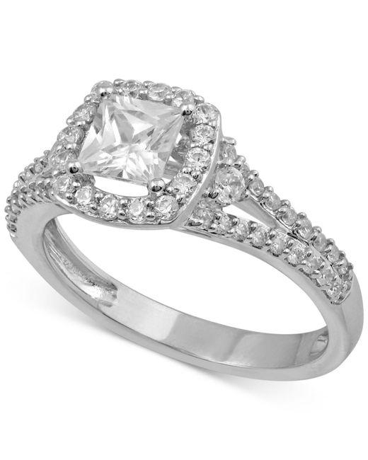 Macy's - Metallic Diamond Princess Cut Halo Engagement Ring (1 Ct. T.w.) In 14k White Gold - Lyst