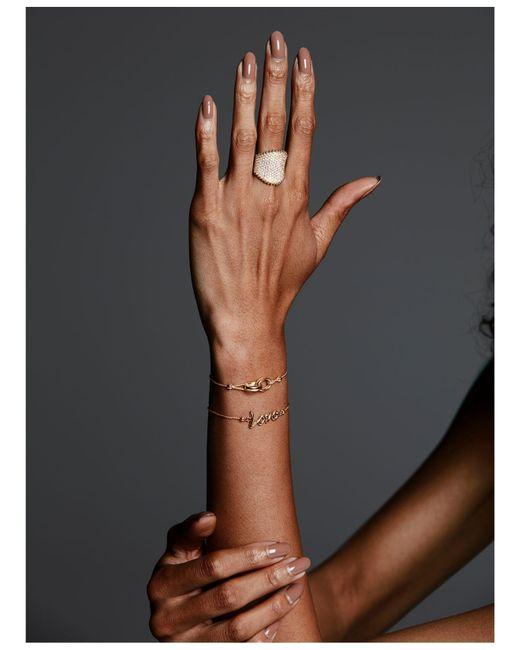 Macy's Metallic Love Script Bolo Bracelet In 10k Gold
