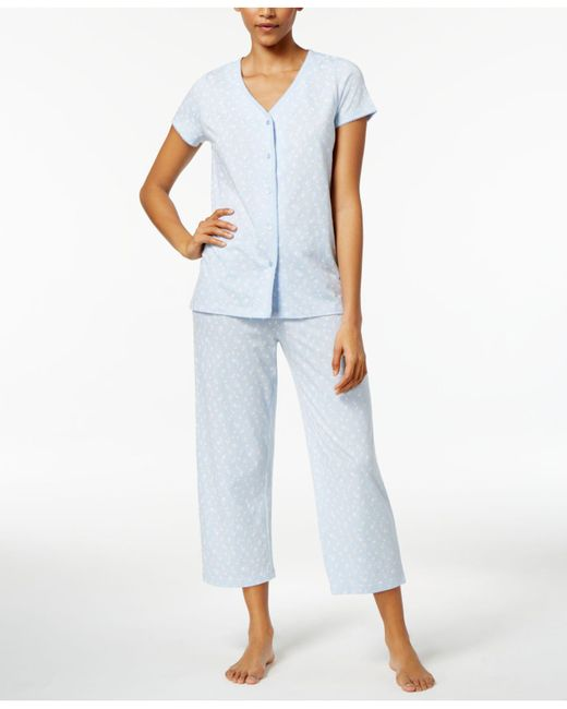 Charter Club - Blue V-neck Top And Cropped Pants Printed Cotton Pajama Set - Lyst