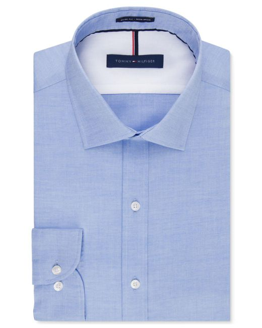 Tommy Hilfiger | Blue Men's Slim-fit Non-iron Soft Wash Solid Dress Shirt for Men | Lyst